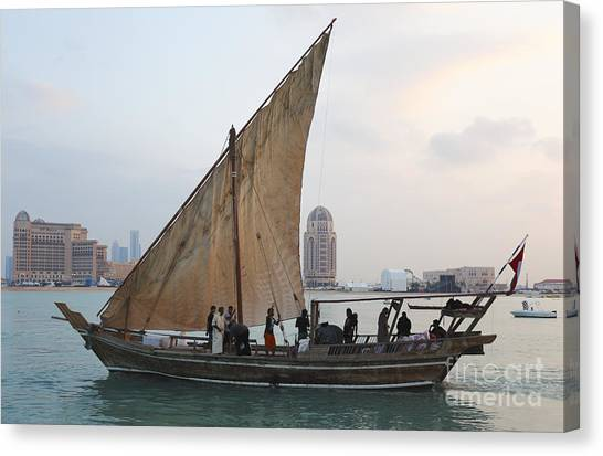 Dhow Canvas Print - Dhow And Hotels by Paul Cowan
