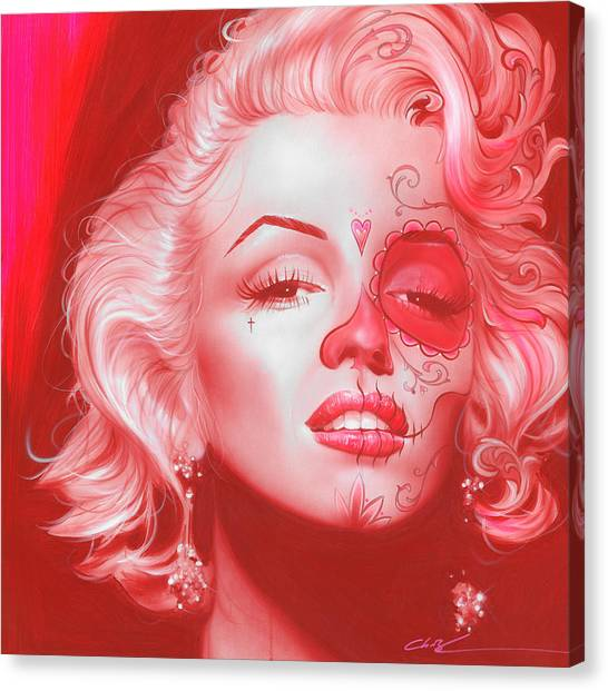 Red Eye Canvas Print - Dia De Los Monroe by Christian Chapman Art