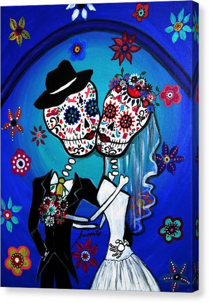 Groom Canvas Print - Dia De Los Muertos Kiss The Bride by Pristine Cartera Turkus