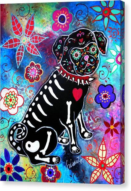Dia De Los Muertos Pug Canvas Print