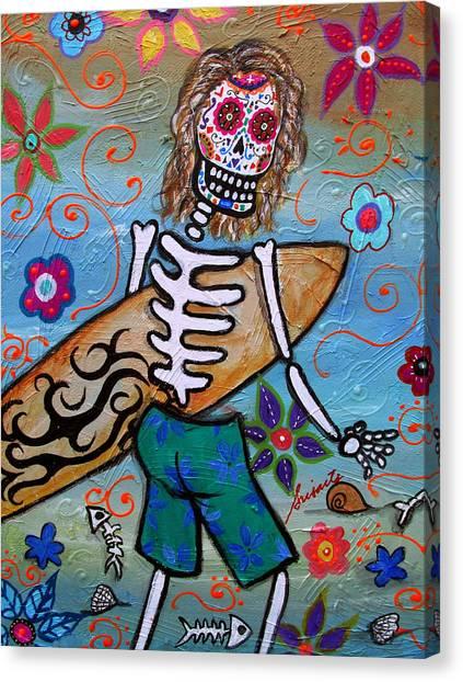 Dia De Los Muertos Surfer Canvas Print