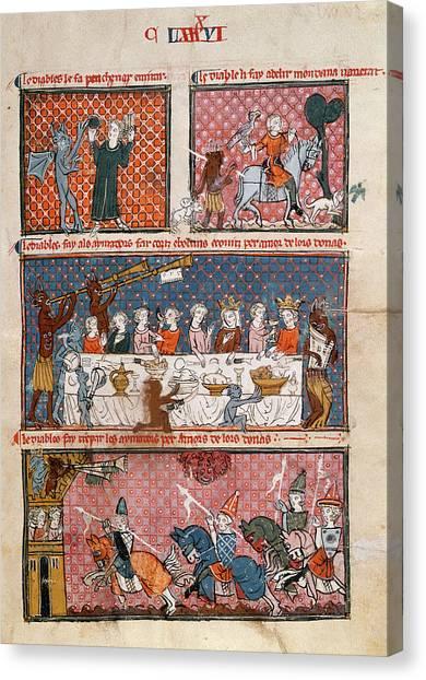 Satan Canvas Print - Diabolic Temptations by British Library