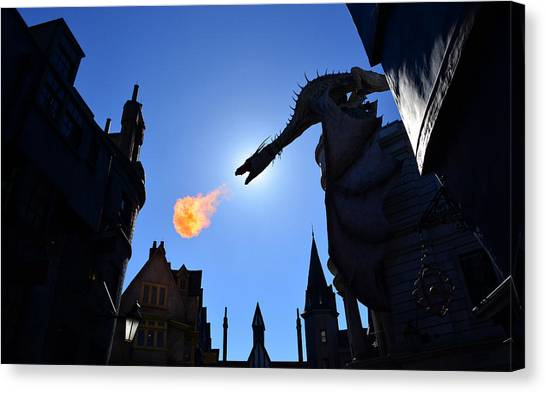 Harry Potter Canvas Print - Diagon Alley Dragon Fire by David Lee Thompson