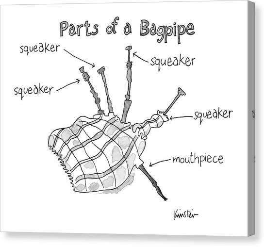 Bagpipes Canvas Print - Diagram Entitled Parts Of A Bagpipe by Ken Krimstein