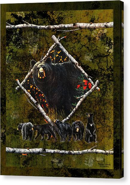 Black Bears Canvas Print - Diamond Bear by JQ Licensing