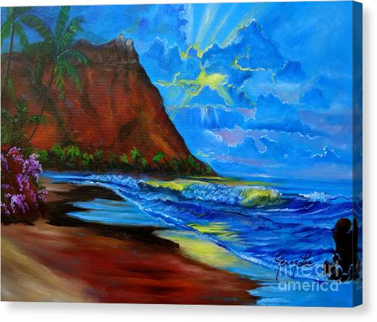 Diamond Head Blue Canvas Print