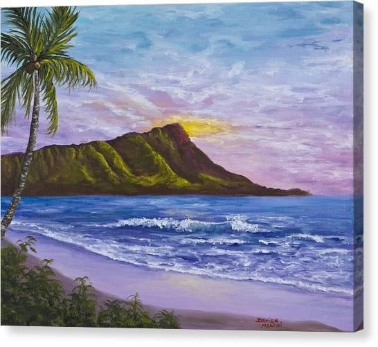 Palm Trees Sunsets Canvas Print - Diamond Head by Darice Machel McGuire
