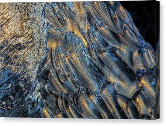 Black Sand Canvas Print - Diamond Ice Chards From Calving by Chuck Haney