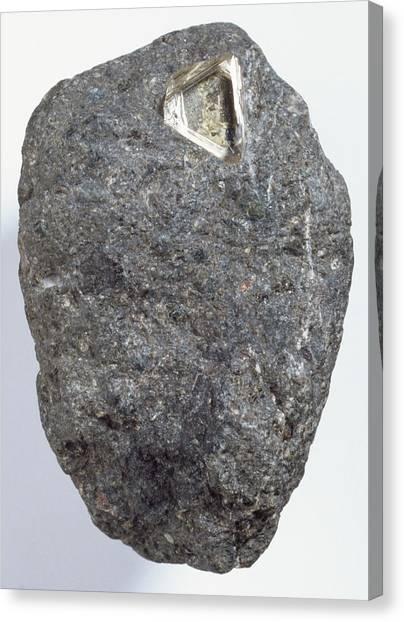 Gemstones Canvas Print - Diamond In Kimberlite by Dorling Kindersley/uig