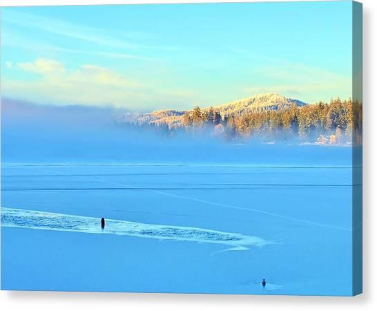 Diamond Lake Frozen Canvas Print