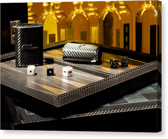 Backgammon Canvas Print - Dice Backgammon And Bottles  by Chay Bewley