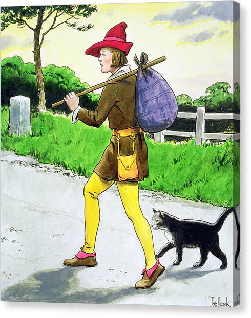 Fabled Canvas Print - Dick Whittington And His Cat by Trelleek