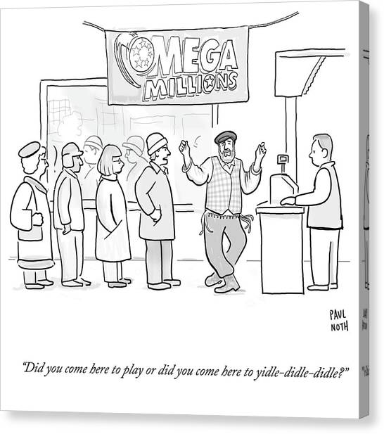 Mega Man Canvas Print - Did You Come Here To Yidle Didle Didle by Paul Noth