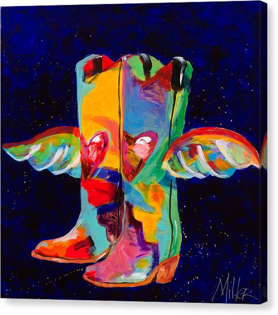 Contemporary Cowboy Art Canvas Print - Die With Your Boots On by Tracy Miller
