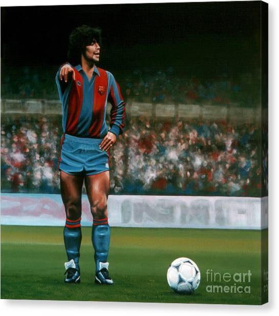 Goal Canvas Print - Diego Maradona by Paul Meijering