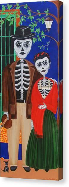 Diego Y Frida Blue House Marigolds Canvas Print