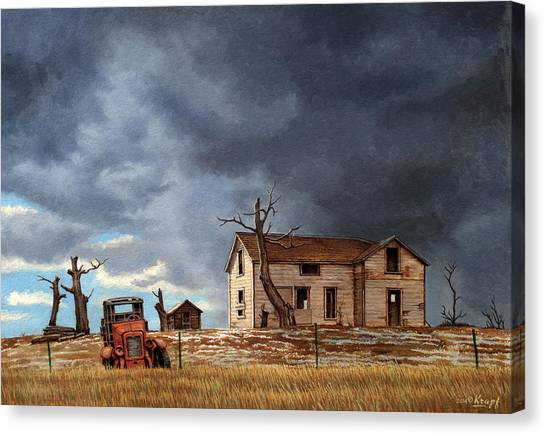 Old Trucks Canvas Print - Different Day At The Homestead by Paul Krapf