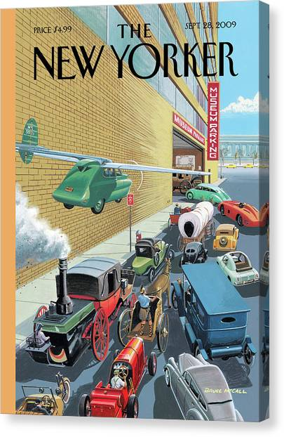 Different Types Of Cars From The Past Waiting Canvas Print by Bruce McCall