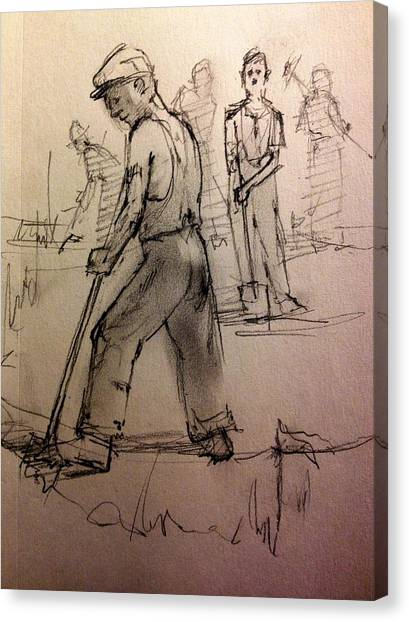 Shovels Canvas Print - Diggin The Trench by H James Hoff