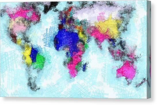 Digital Art Map Of The World Canvas Print