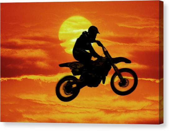 Motocross Canvas Print - Digital Composite Of Motocross Racer by Jaynes Gallery
