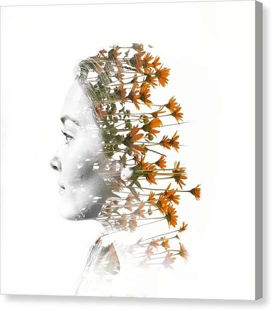 Digital Composite Of Woman Head With Canvas Print