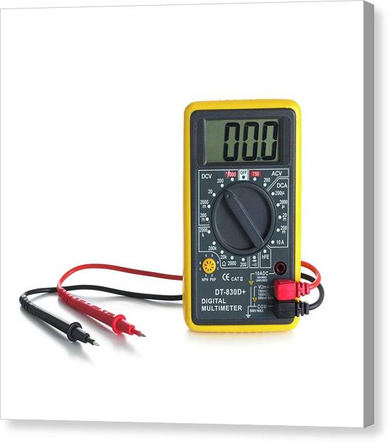 Ac Dc Canvas Print - Digital Multimeter by Science Photo Library