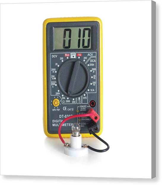 Ac Dc Canvas Print - Digital Multimeter With Lightbulb by Science Photo Library
