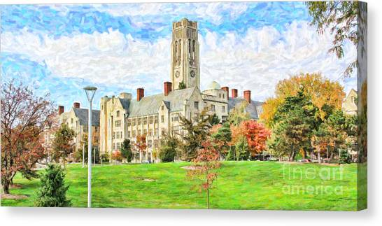 University Of Toledo Canvas Print - Digital Painting Of University Hall by Jack Schultz