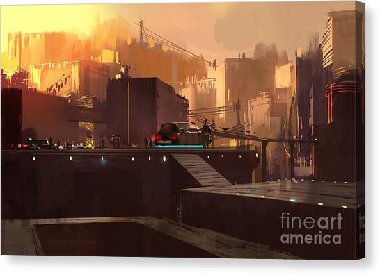 Science Fiction Canvas Print - Digital Painting Showing Futuristic by Tithi Luadthong