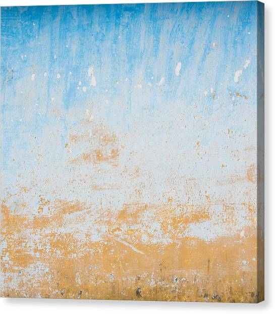 Dilapidated Beige And Blue Wall Texture Canvas Print