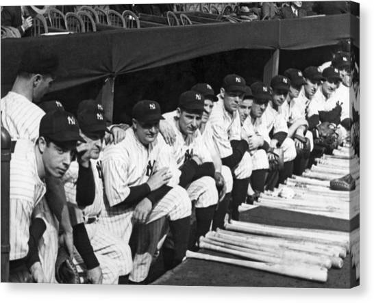 Joe Dimaggio Canvas Print - Dimaggio In Yankee Dugout by Underwood Archives