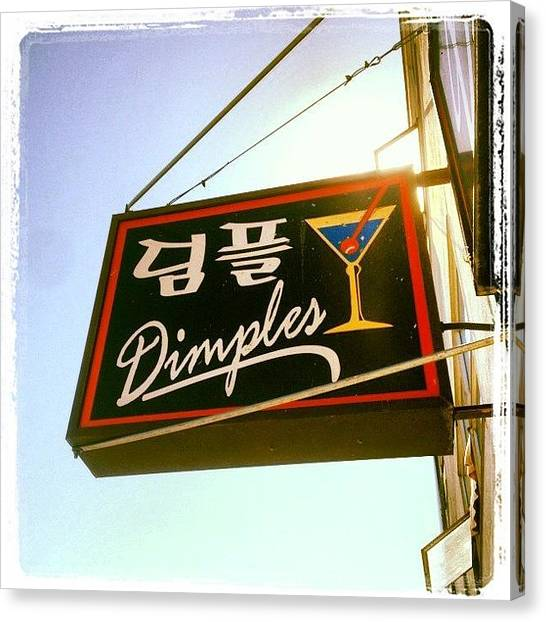 Martini Canvas Print - Dimples Japantown Bar Sign #bar #sign by Lynn Friedman