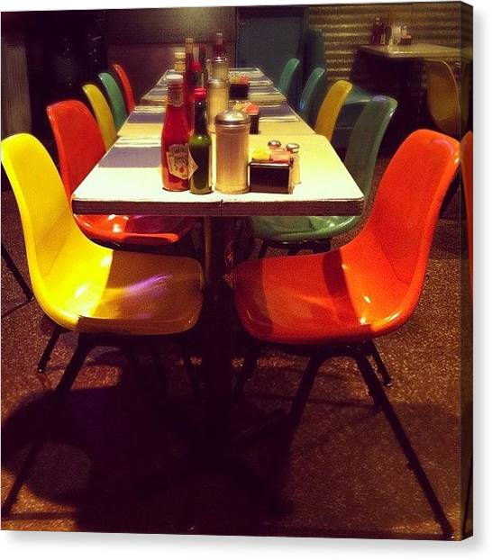 Ketchup Canvas Print - #diner#ketchup#tabasco#food#chairs by Esther Montoro
