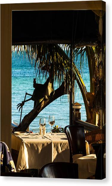 Dining For Two At Louie's Backyard Canvas Print