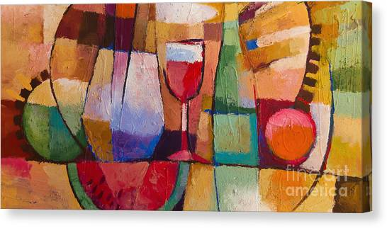 Wine Art Canvas Print - Dining by Lutz Baar