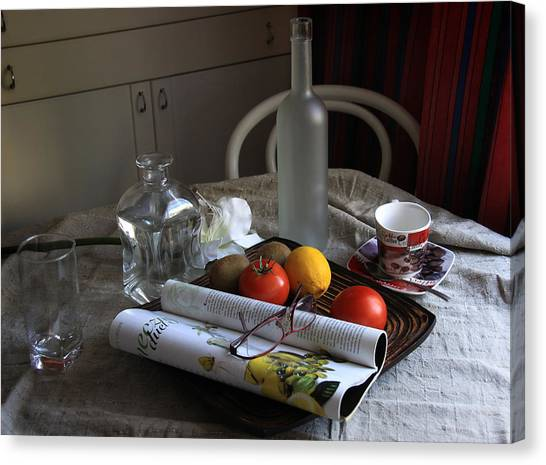 Dining Room Still Life With A Cup Of Coffee. Canvas Print