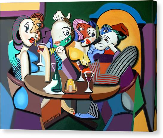 Cubism Canvas Print - Dinner At Mario's by Anthony Falbo
