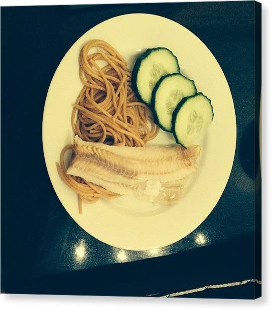 Fillet Canvas Print - Dinner #cucumber #wholegrain #spaghetti by Erin Holloway