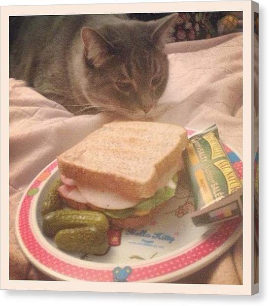 Ham Canvas Print - Dinner For One (+ 😸cats) On My by Katrina A