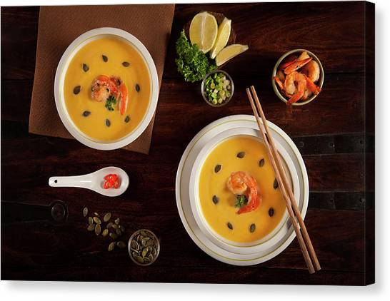 Shrimping Canvas Print - Dinner For Two by Diana Popescu
