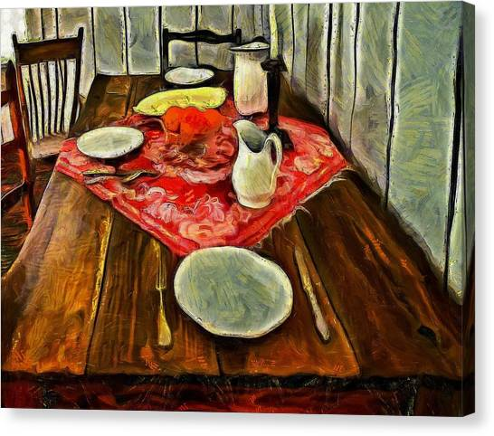 Inspired By Van Gogh Canvas Print - Dinner For Two  by L Wright