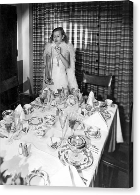 Boa Constrictors Canvas Print - Dinner Party Table Setting by Underwood Archives