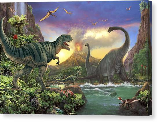 Tyrannosaurus Canvas Print - Dino Attack Variant 1 by Steve Read