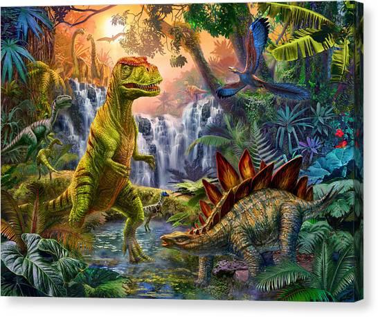Tyrannosaurus Canvas Print - Dino Waterfall by Jan Patrik Krasny