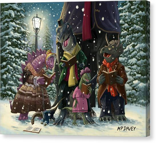 Brachiosaurus Canvas Print - Dinosaur Carol Singers by Martin Davey