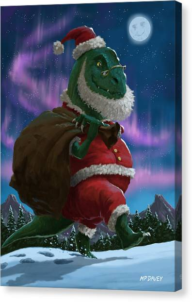 Dinosaur Christmas Santa Out In The Snow Canvas Print