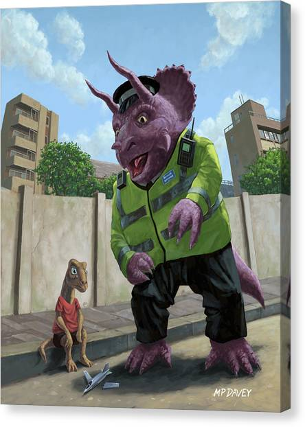 Dinosaur Community Policeman Helping Youngster Canvas Print