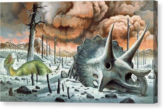 Tyrannosaurus Canvas Print - Dinosaur Extinction by Christian Jegou Publiphoto Diffusion/ Science Photo Library