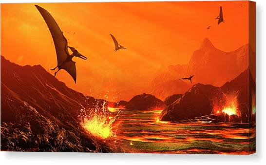 Pterodactyls Canvas Print - Dinosaur Extinction Event by Mark Garlick/science Photo Library